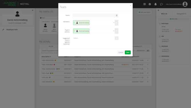 The team management screen allows administrators to assemble and define different teams.