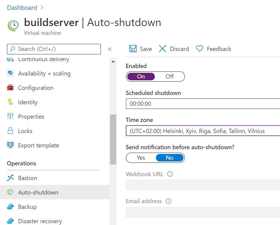 Azure VM auto shutdown feature